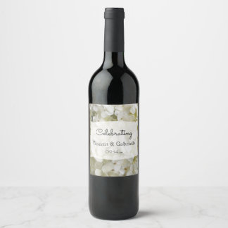 Rótulo De Garrafa De Cerveja O Hydrangea branco floresce o casamento