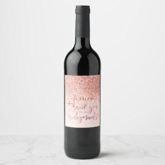 Rótulo De Garrafa De Cerveja Obrigado à dama de honra. Brilho cor-de-rosa do