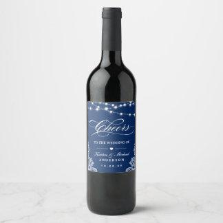 Rótulo De Garrafa De Cerveja Os elogios à corda dos azuis marinhos do casamento