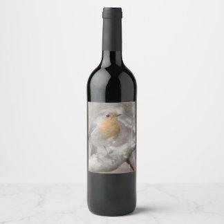 Rótulo De Garrafa De Cerveja Pisco de peito vermelho na neve