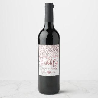 Rótulo De Garrafa De Cerveja PixDezines brilhou confetes/mármore cor-de-rosa do