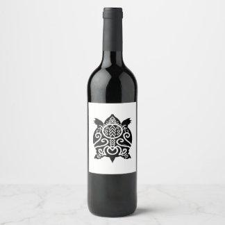 Rótulo De Garrafa De Cerveja Tartaruga preta da caranga da silhueta