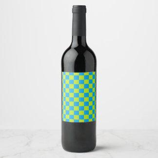 Rótulo De Garrafa De Cerveja Verde limão e turquesa Checkered