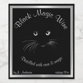 Rótulo De Garrafa De Cerveja Vinho destilado com gato da magia negra
