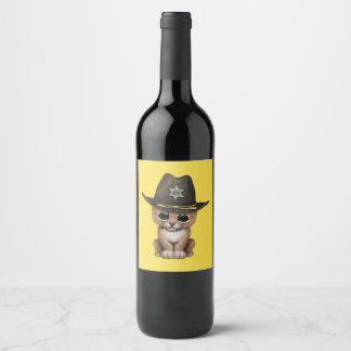 Rótulo De Garrafa De Cerveja Xerife bonito de Cub de leão do bebê