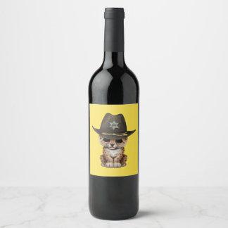 Rótulo De Garrafa De Cerveja Xerife bonito de Cub do leopardo do bebê