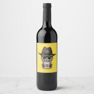 Rótulo De Garrafa De Cerveja Xerife bonito de Cub do lince do bebê