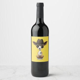 Rótulo De Garrafa De Cerveja Xerife bonito do filhote de cachorro da chihuahua
