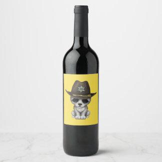 Rótulo De Garrafa De Cerveja Xerife bonito do lobo do bebê
