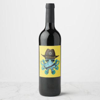 Rótulo De Garrafa De Cerveja Xerife bonito do polvo do bebê azul