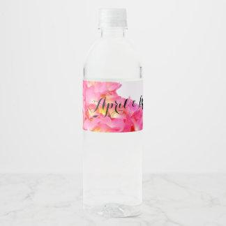Rótulo De Garrafa De Vinho Hydrangea cor-de-rosa
