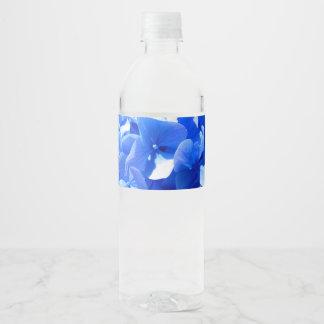 Rótulo De Garrafa De Vinho Hydrangea dos azuis cobaltos