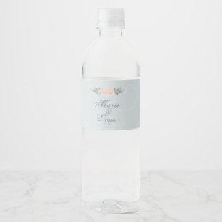 Rótulo De Garrafa De Vinho Romântico rosa pálido aumentou