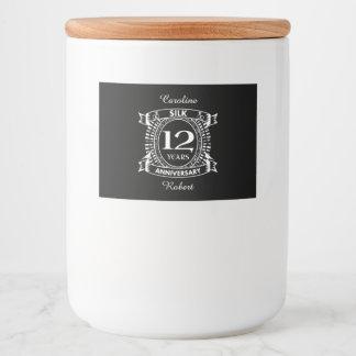 Rótulo Para Comida 12a seda do aniversário de casamento
