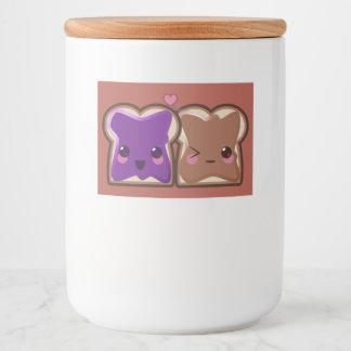 Rótulo Para Comida Amor da manteiga e da geléia de amendoim