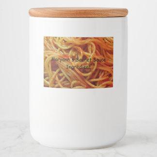 Rótulo Para Comida Ao modelo do costume dos espaguetes do amor