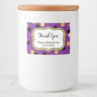 Rótulo Para Comida Chá de panela preto roxo dos confetes do ouro