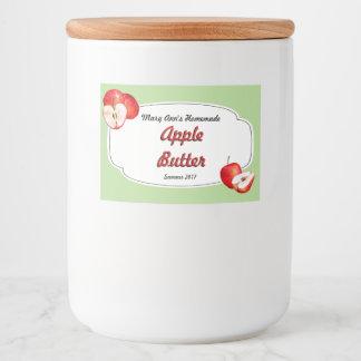 Rótulo Para Comida Colocação em latas da manteiga de Apple