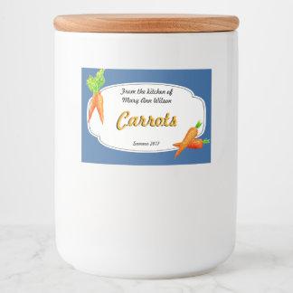 Rótulo Para Comida Colocação em latas das cenouras