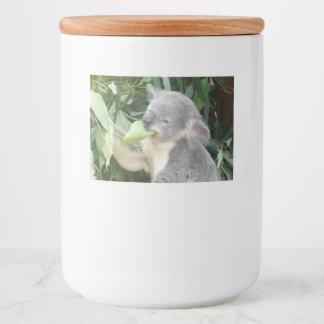 Rótulo Para Comida Koala que come a folha da goma