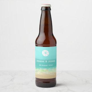 Rótulo Para Garrafa De Cerveja A água azul do Aqua/litoral pintado da praia