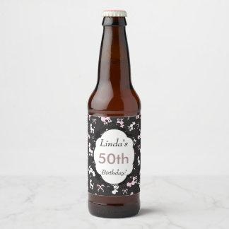 Rótulo Para Garrafa De Cerveja Aniversário do tema da caniche