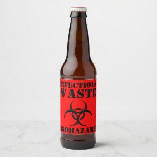 Rótulo Para Garrafa De Cerveja Biohazard engraçado o Dia das Bruxas Waste