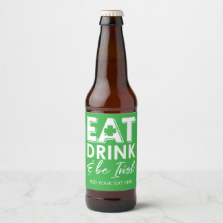 Rótulo Para Garrafa De Cerveja Coma, bebida & seja verde do dia de St Patrick do