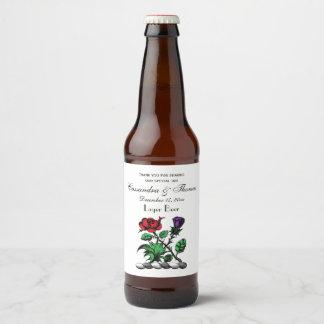 Rótulo Para Garrafa De Cerveja Cor heráldica cor-de-rosa & do cardo da brasão da