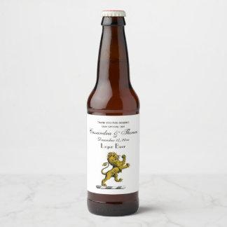 Rótulo Para Garrafa De Cerveja Emblema ereto C da crista do leão heráldico