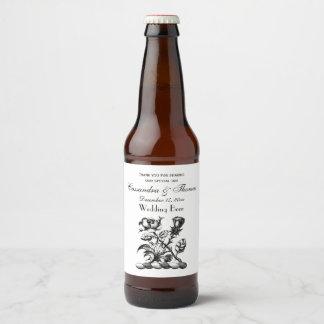 Rótulo Para Garrafa De Cerveja Emblema heráldico cor-de-rosa & do cardo da brasão