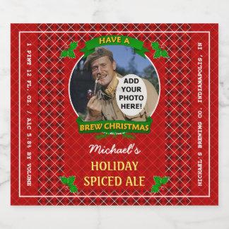 Rótulo Para Garrafa De Cerveja Foto vermelha do costume de Argyle do Natal da