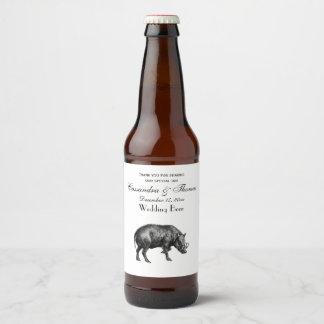 Rótulo Para Garrafa De Cerveja Javali do vintage que tira BW