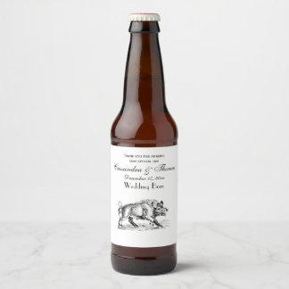 Rótulo Para Garrafa De Cerveja Javali do vintage que tira BW #2