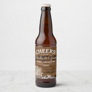 Rótulo Para Garrafa De Cerveja Madeira rústica do celeiro e casamento