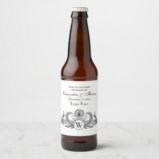 Rótulo Para Garrafa De Cerveja Monograma dos pavões do vintage