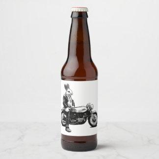 Rótulo Para Garrafa De Cerveja Motociclista do coelho