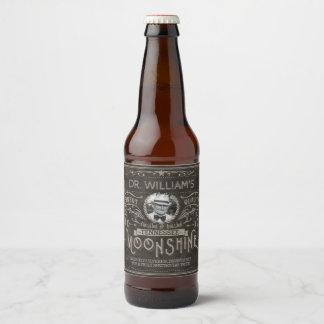 Rótulo Para Garrafa De Cerveja O vintage Moonshine o costume Brown da medicina do