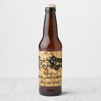 Rótulo Para Garrafa De Cerveja Os conselhos de madeira e Stagecoach do estilo