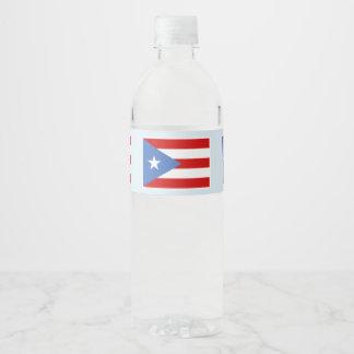 Rótulo Para Garrafa De Vinho Bandeira de Puerto Rico na luz - azul