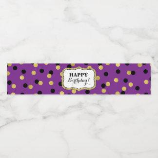 Rótulo Para Garrafa De Vinho Feliz aniversario dos confetes pretos roxos do