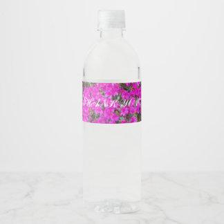 Rótulo Para Garrafa De Vinho Obrigado cor-de-rosa minúsculo das flores você