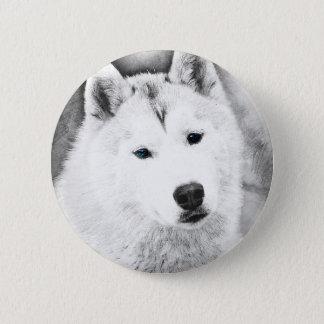 Rouco Siberian branco com esboço das belas artes Bóton Redondo 5.08cm