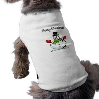 Roupa do animal de estimação do boneco de neve do camisa sem mangas para cachorro