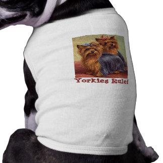 Roupa do animal de estimação do yorkshire terrier camisa sem mangas para cachorro