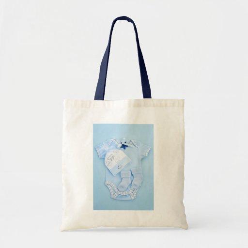 Roupa do bebê azul para o menino infantil bolsa para compras