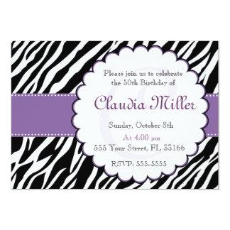Roxo adulto do aniversário do convite da zebra
