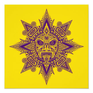 Roxo asteca da máscara de Sun no amarelo Convite Personalizado