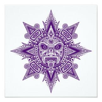 Roxo asteca da máscara de Sun no branco Convite Personalizados
