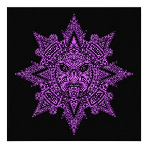 Roxo asteca da máscara de Sun no preto Convite